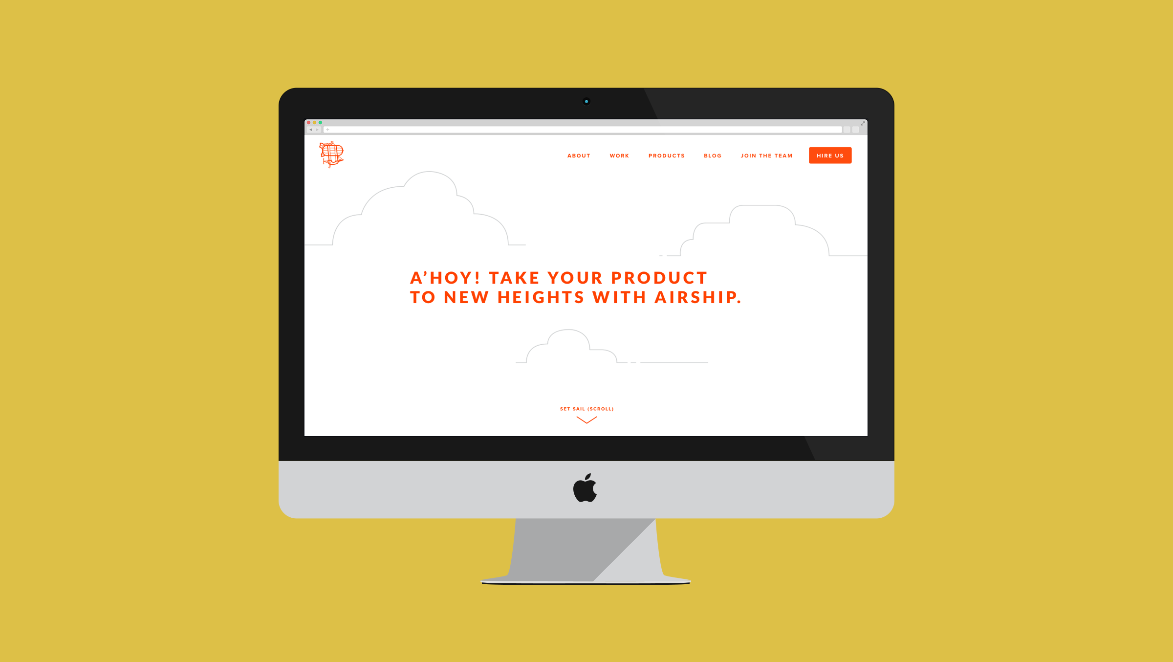 iMac featuring the home page of Team Airship